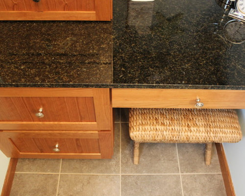 Tiled Masterbath with Makeup Vanity ~ Medina, OH #1 - Vanity Tops And Side Splashes