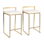 Fuji Counter Stools With Faux Leather, Set of 2, Gold/White