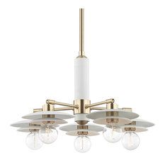 Mitzi Milla 5 Light Chandelier H175805-AGB/WH - Aged Brass & White