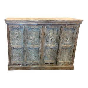 Mogul Interior - Consigned Lotus Carved Distressed Blue Sideboard, Media TV Storage Cabinet - Buffets And Sideboards