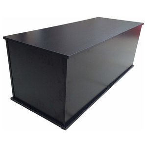 Contemporary Ottoman Storage Chest, MDF With Lockable Hinge Lid, Black