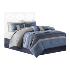 Microsuede 7-Piece Comforter Set, Navy, Queen