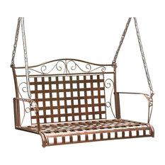 Mandalay Wrought Iron Patio Swing - Hammered Bronze
