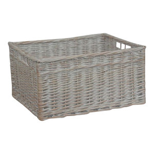 White Wash Storage Wicker Open Basket, Small