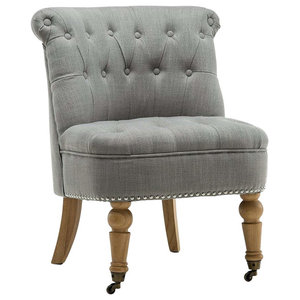 Modern Accent Chair With Buttoned Back and Wooden Legs, Grey