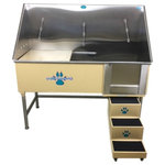 """Groomer's Best - Elite Dog Wash, Tan, 48"""", Left Drain - Groomers Best Elite Bathing Tub is top of the line.  Featuring a fully welded design and double sealed.  Our textured coating protects your tub and guarantees no leaking or rusting, and can also be ordered in a color to match your decor.  Includes Lift & Slide steps that allow the animals ease of access and smoothly slide underneath the tub for your convenience.  Removable raised tray is great for small dogs! No assembly required, wash tub ships ready to install!  Easy to use and maintain!"""