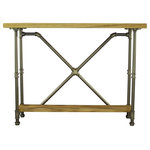 Furniture Pipeline - Houston Chic Console Table, Brushed Brass Gray Steel/Natural - Create a striking focal point with this 2-tier lightweight and easy to assemble pipe console/sofa table! It is designed with recyclable aircraft grade aluminum and reclaimed/aged finished solid Paulownia (looks like Ash  lifts like cardboard!) wood. It offers ample top and bottom space for displaying collectibles  art  flowers  family photos or table lamps. This sofa/console table is lightweight and durable  easy to move around as needed  arriving at your doorstep with 100% recyclable packaging for a lifetime of enjoyment!