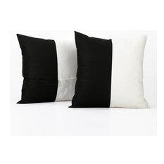 Horizontal Stripe Cotton Cushion Cover, Set of 2, OnyxBlack & Off White