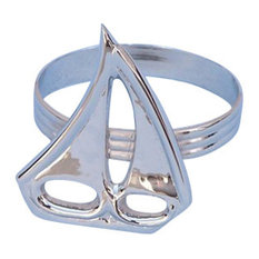 Handcrafted Nautical Decor - Sailboat Napkin Ring, Chrome, 2'' - Napkin Rings