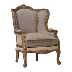 Linen And Carved Oak Bergere Chair