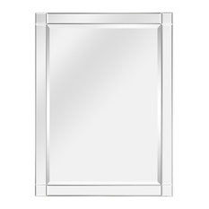 """Squared Corner Beveled Rectangle Wall Mirror, Solid Wood Frame Mirror, 30""""x40"""""""