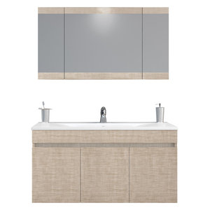 "DP Wall Bath Vanity Cabinet Set 40"" Single Sink With Laminated Beige Oak Finish"