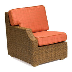 Woodard Furniture - Domino Wicker Lounge Chair w Right Arm Rest (Honey Wheat Wicker) - Outdoor Lounge Chairs