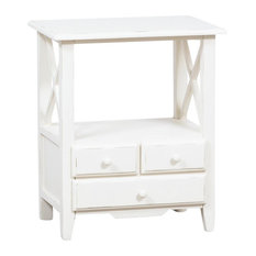 Country Open Wooden Bedside Table, White