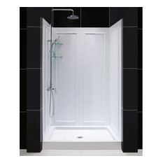 DreamLine   36x48 Center Drain Acrylic Shower Base And QWALL Backwall Kit  White   Shower Stalls
