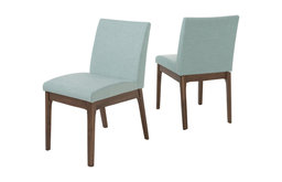 GDF Studio Leona Fabric and Wood Finish Dining Chair, Mint/Walnut, Set of 2