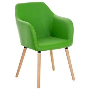 Modern Chair, Wooden Frame Upholstered, Faux Leather, Great for Comfort, Green
