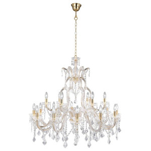 Marie Modern Classical Crystal Chandelier, Polished Brass