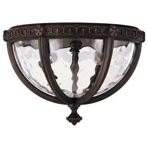 2-Light Flush Ceiling Lantern, Blown Water Glass