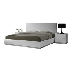 J&M Furniture - J&M Naples Glossy White Lacquer Finish Queen Size Bedroom Set - Platform Beds