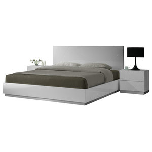 J M Naples Glossy White Lacquer Finish Queen Size Bedroom Set