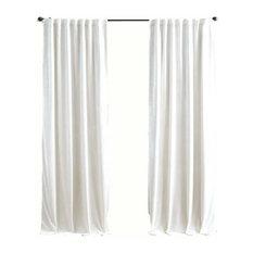 "Luxury Velvet Curtain Panels, White, Set of 2, Pinch Pleats 50""x130"""