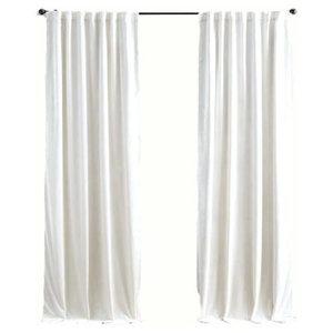 """Luxury Velvet Curtain Panels, White, Set of 2, Grommets 50""""x100"""""""