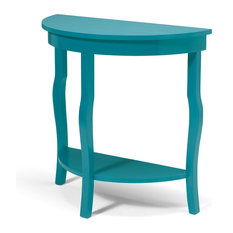 Lillian Wood Half Moon Console Table With Curved Legs and Shelf, Teal