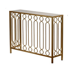 Metal and Marble Console Table 37x10x28