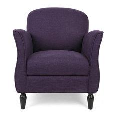 GDF Studio Crew Traditional Tweed Armchair Purple Tweed/Dark Brown