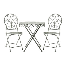 Galvanised Metal Rustic Lead Colour Round Table and 2 Chairs