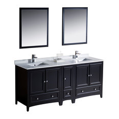 "Fresca Oxford 72"" Traditional Double Sink Bathroom Vanity Set, Espresso"