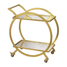 31.5 Inch Ring Bar Cart   Antique Mirror/Gold Finish - Bar Cart