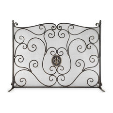Fleur De Lis Dign Mh Metal Fireplace Screen