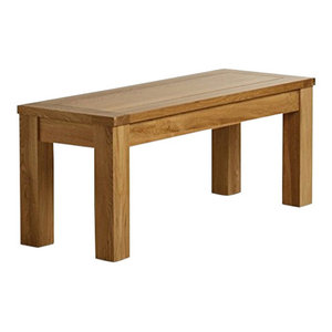 Contemporary Bench, Oak Finished Solid Wood With Thick Legs for Great Support