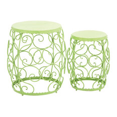 Contemporary and Modern Inspired Delightful Set Of 2 Metal Stool Home Decor