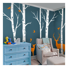 "Birch Tree With Deer and Bird Wall Decals Sticker Set, Scheme B, 96"" Tall Trees"