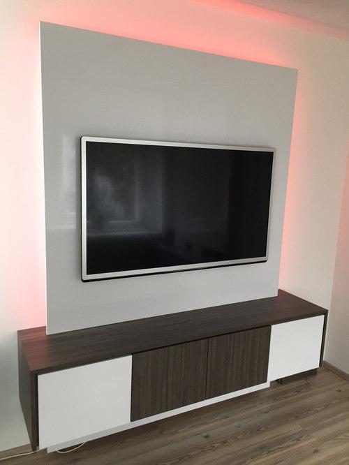 TV Wand TV WALL Square 120 | Weiß Hochglanz | Holzdekor Madagascar Cylon