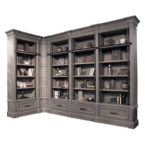 Parker House Gramercy Park 6-Piece Museum Bookcase Library Wall with Ladder