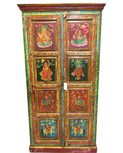 Storage Cabinet Armoire Indian Reverse Painted Home Furniture $1,075.00    Armoires And Wardrobes