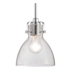 "Minka Lavery 2244-77 Retro Glass 1 Light 8"" Height Indoor Mini Pendant in Chrome"