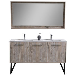 "60"" Double Sink Modern Bathroom Vanity With Quartz Countertop With Mirror"