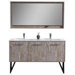 """Kubebath - 60"""" Double Sink Modern Bathroom Vanity w/ Quartz Countertop and Matching Mirror - Breathe new life into your bathroom d�cor with the new Bosco by KubeBath modern Bathroom Vanity. The Bosco Vanity includes a cream Quartz Countertop, undermount reinforced acrylic sink and optionally a matching Mirror that perfectly complements the vanity cabinet. This Vanity features two doors, one drawer and a nested drawer.. Two Functioning Doors, one Drawer and one Nested Drawer. Cabinet comes Fully Assembled. Rich Durable Finish. Integrated European Soft-Closing hardware. Countertop Pre-Drilled for a Single Hole Faucets. Sinks have Overflow. Matching Mirror with Wood Accents and Shelve"""