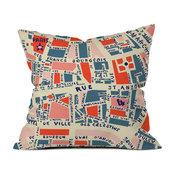 Holli Zollinger Paris Map Blue Outdoor Throw Pillow