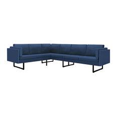 VidaXL Corner Sofa L-shaped Blue Fabric Steel Home Chaise Longue Loveseat