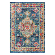 """Bohemian Flair Vintage Medallion Rug, Navy and Red, 7'9""""x10'"""