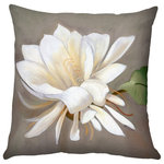 Pillow Decor Ltd. - Pillow Decor - Cactus Flower Throw Pillow 20x20 SQ - A single cactus flower in full bloom is set against a soft taupe and gray background. This 20x20 square accent pillow is backed with the same fabric in solid white and would be a wonderful finishing touch on a bed, chaise lounge, or sofa. The image is a reproduction from a Sandra Forzani original painting and is available exclusively through Pillow Decor.