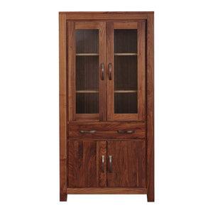 1 Drawer and 4 Door Mayan Walnut Glazed Bookcase