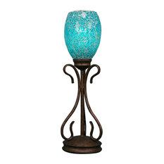 "Swan Mini Table Lamp In Bronze, 5"" Turquoise Fusion Glass"