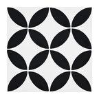 """8""""x8"""" Amlo Handmade Cement Tile, White, Black, Set of 12"""